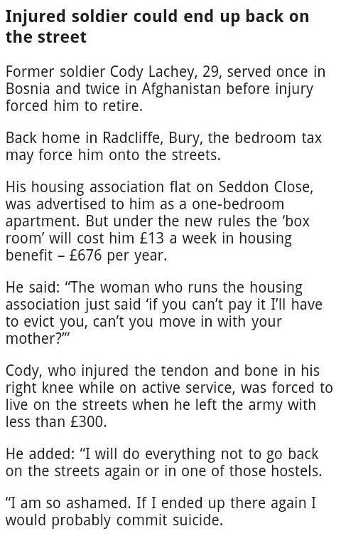bedroom tax injured soldier