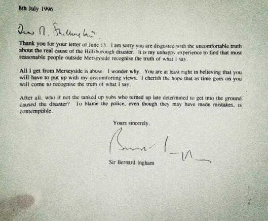 bernard ingham hillsborough letter