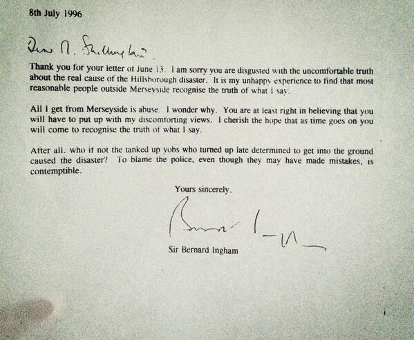 bernard ingham hillsborough letter