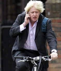 boris cycling on the phone