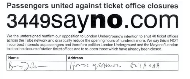 boris johnson signature no ticket office closures