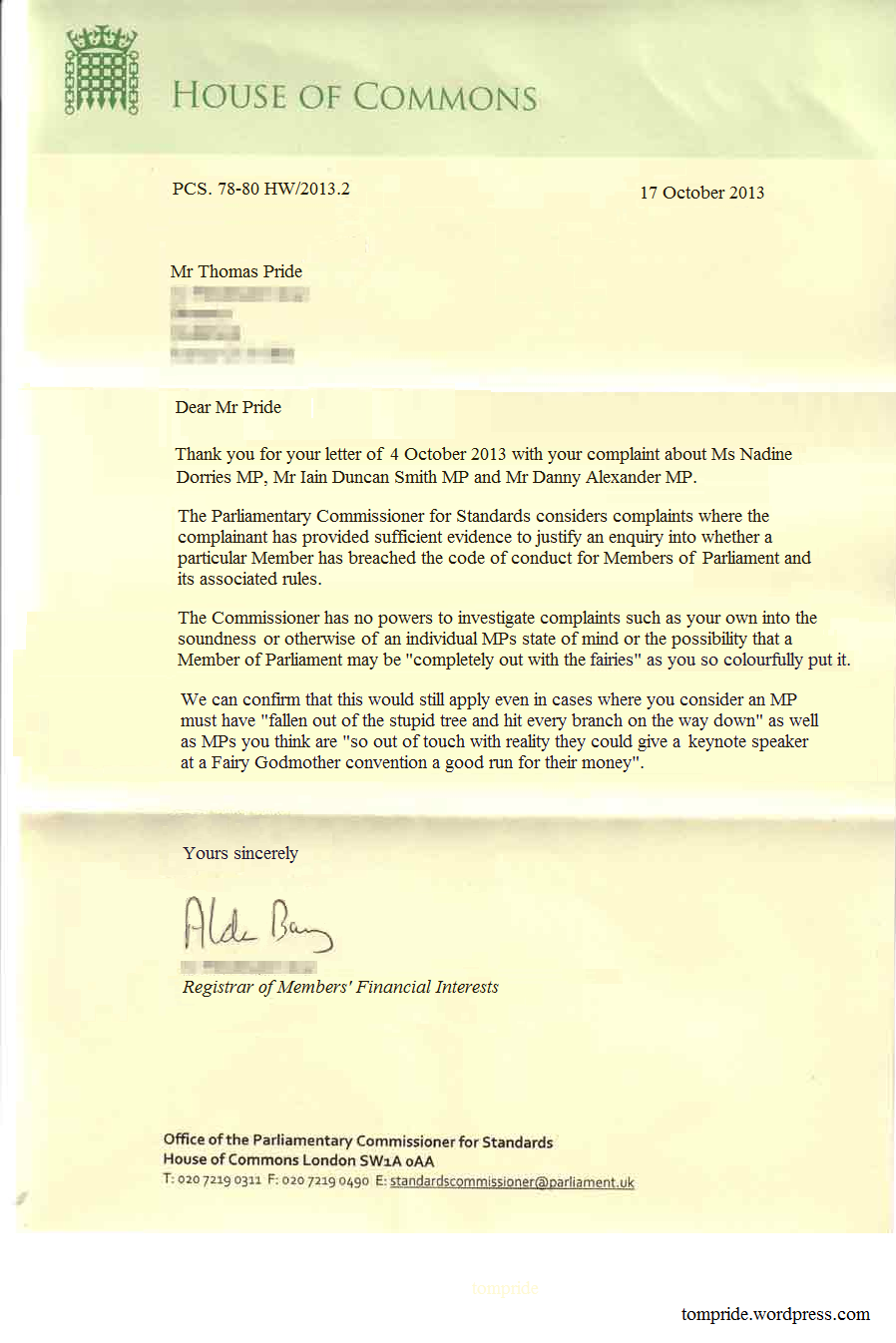 Official reply to my complaint about mps from the parliamentary house of commons letter sample expocarfo Gallery