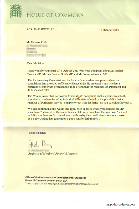 House of Commons letter -sample