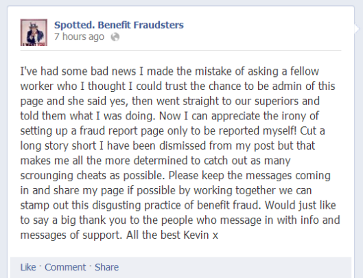 spotted benefit scroungers