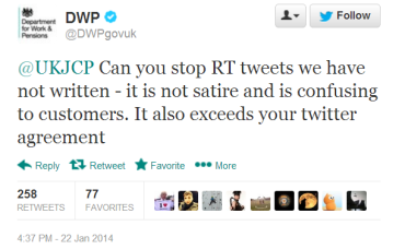 DWP shuts down satire
