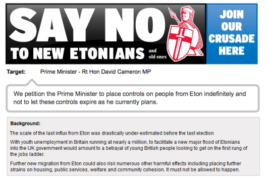 NO to more Etonians in Britain