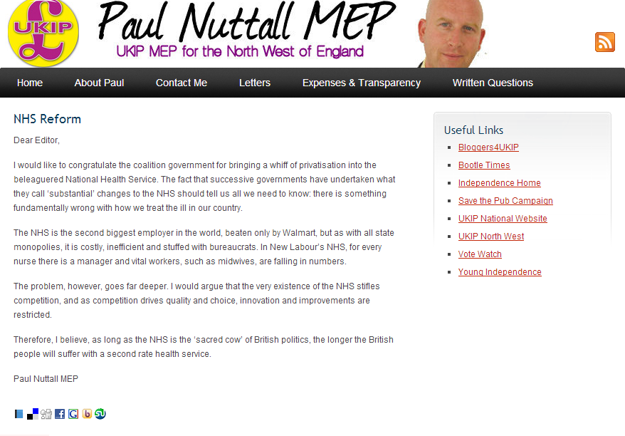 UKIP leader deletes web page calling for end of NHS | Pride's Purge