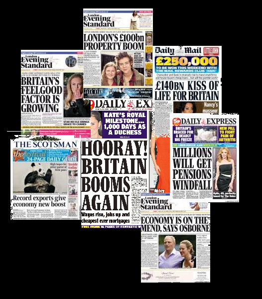 front pages booming britain
