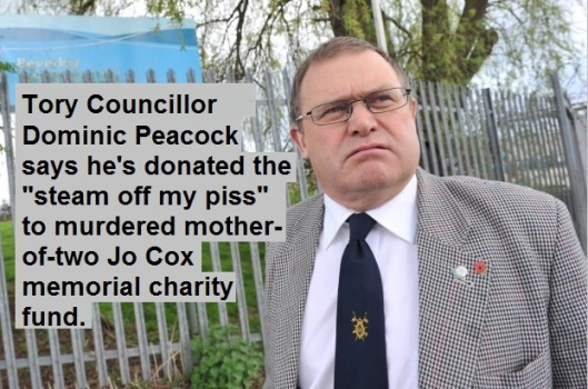 East Riding of Yorkshire Tory Councillor Dominic Peacock who shared a link to the memorial fund of murdered MP Jo Cox with the insenstive comment that he had donated the steam off his piss photographed at the Beverley Sewage Treatment Works. See Ross Parry copy RPYCLLR : A Tory councillor has caused uproar after disgracing Jo Cox's memorial fund by saying he had just donated - the steam from his PISS. East Riding of Yorkshire Councillor Dominic Peacock took to Facebook to ridicule Jo's mass of donations which have been received around the world. The late Labour MP's memorial reached £1m donations today (Tues) - but it was met with an unsavoury tone from Cllr Peacock, a Conservative Councillor for Minster and Woodmansey. Along with a link to the Jo Cox fund, Cllr Peacock posted: I've just donated the steam from my piss.