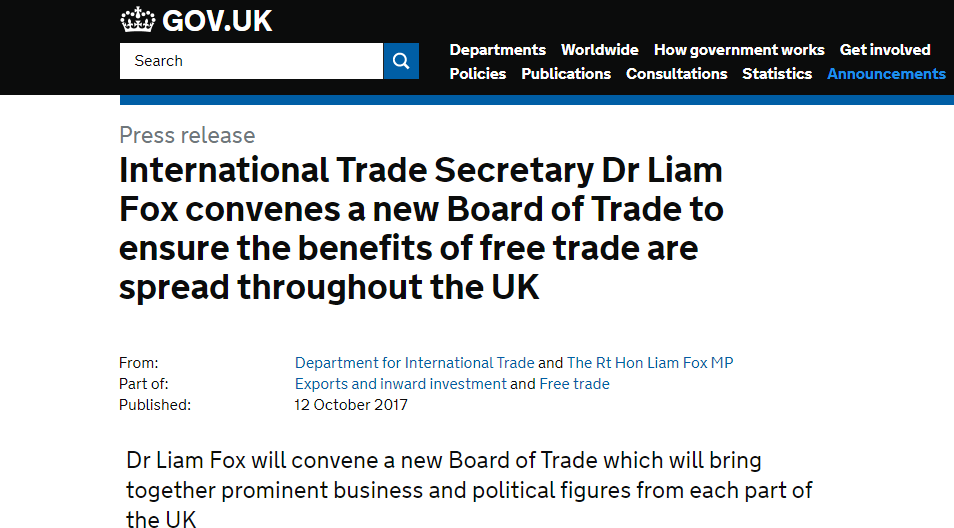 International Trade Secretary Liam Fox's new Board of Trade has only one member – himself!