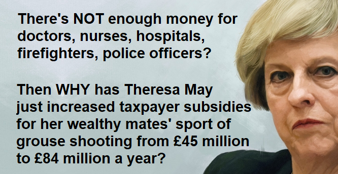 Theresa May INCREASES taxpayer subsidies for her wealthy mates to go grouse shooting